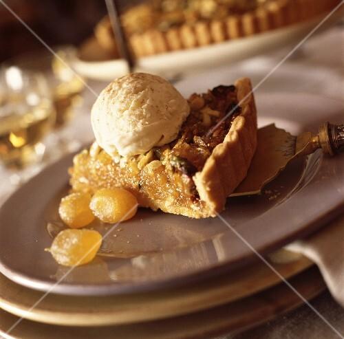 Dried fruit tart and ice cream
