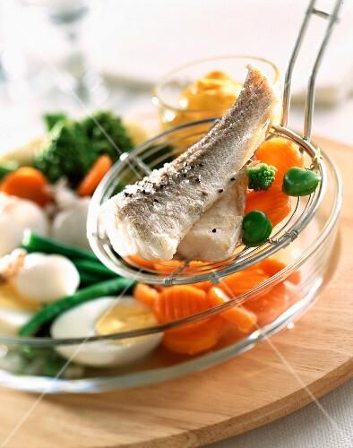 Aioli provencal fish and vegetable dish