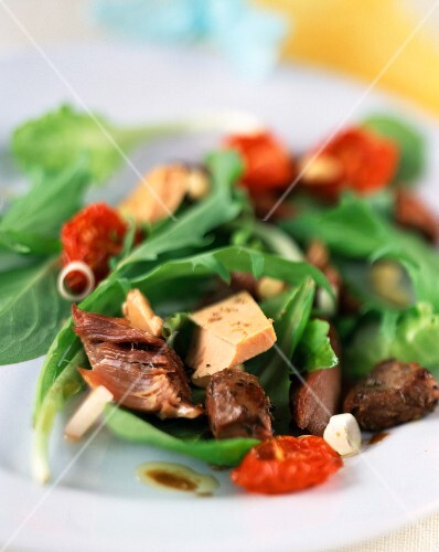 Foie gras with tomato and green salad
