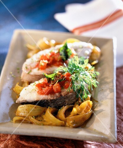 Fish with fried spiced onions