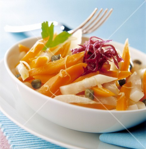 Turnip, carrot and cabbage salad