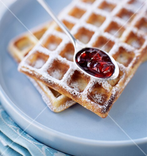 Waffle with sugar and jam