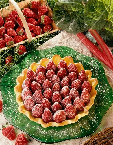 Strawberry and rhubarb tart