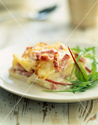 Gratin Dauphinois with diced bacon and ham