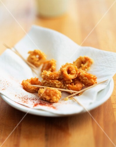Squid with peanuts fritters