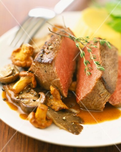 Piece of beef with mushrooms