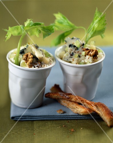 Celery tartare with roquefort and pears