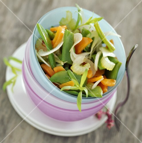 Flat coco bean, celery and carrot salad