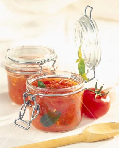 Jar of preserved tomato