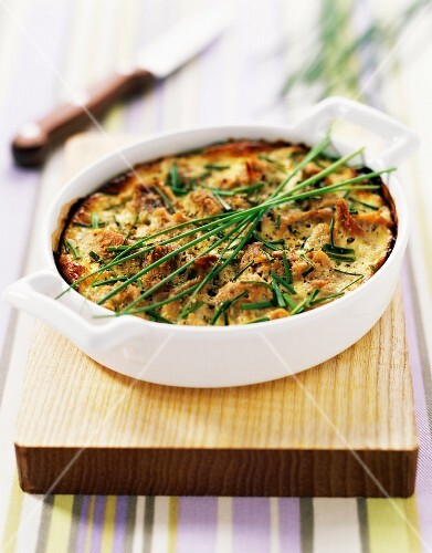 tuna and chive clafoutis batter pudding