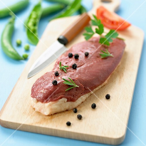 Raw fillet of duck's breast