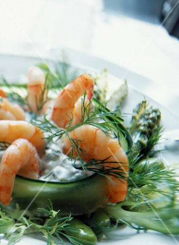 Marinated prawn salad with herbed goat's cheese faisselle