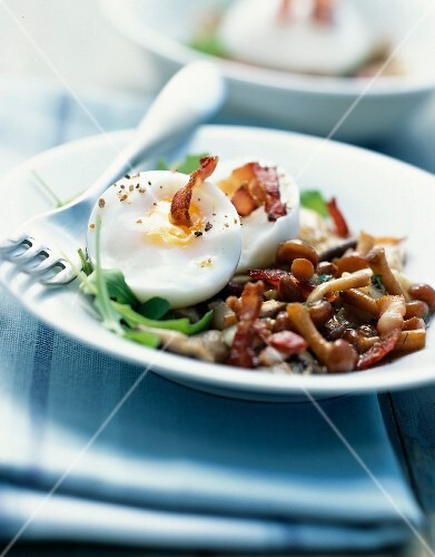 Soft-boiled egg and pan-fried mushrooms