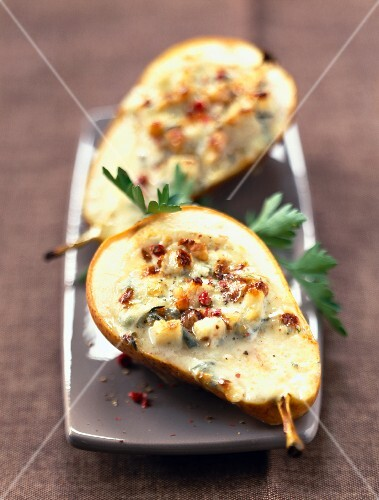 pears filled with blue cheese and walnuts