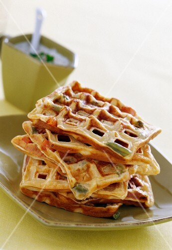 Vegetable waffles and parsley sauce ( topic : light diners)