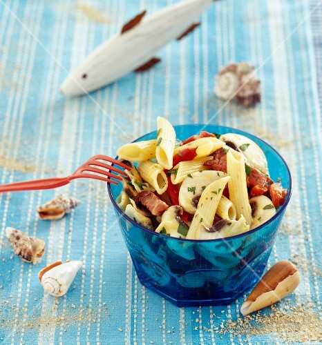 Penne and beef salad
