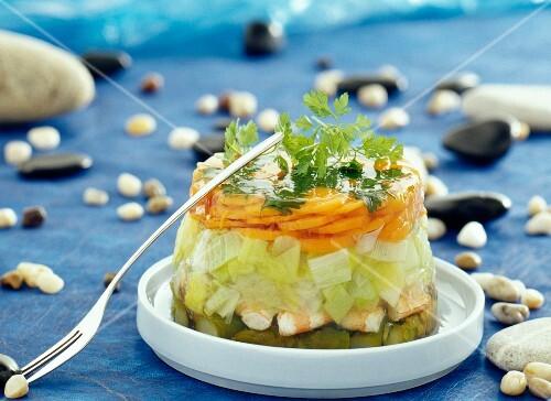 Vegetable-shrimp charlotte