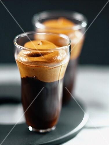 Glasses of espresso with coffee cream