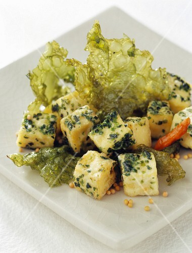 Tofu coated in spicy seaweed