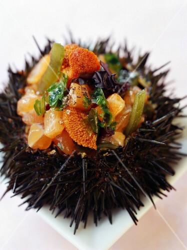 Urchin stuffed with salmon and seaweed tartare