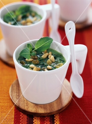 cucumber and pine nut soup