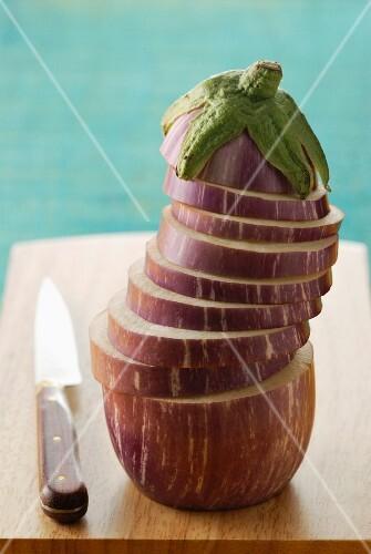 Eggplant cut samourai style