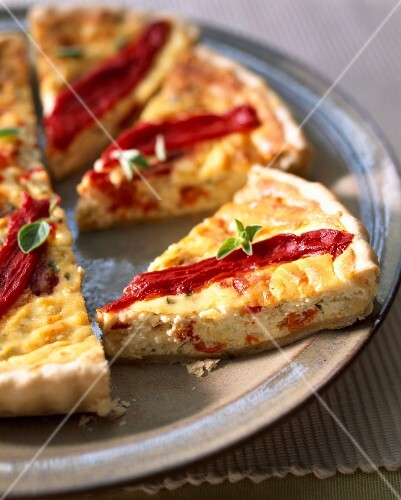 Onion,pepper and brucciu savoury tart
