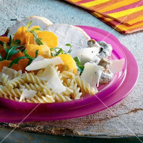 Roast veal with fusilli pasta,carrots,mushrooms and parmesan flakes