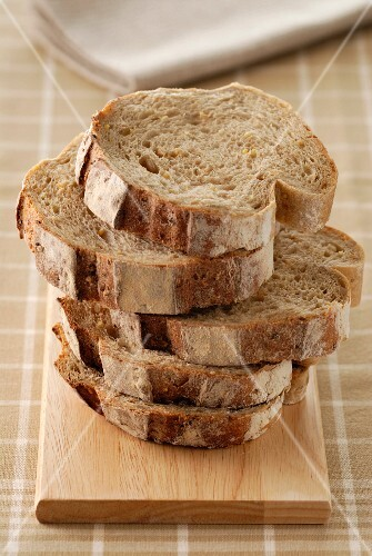 Pile of sliced granary bread