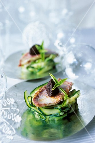 Fillet of surmullet on courgette ribbons