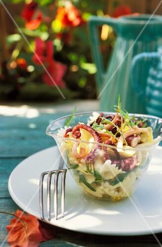 Farfalle and octopus salad