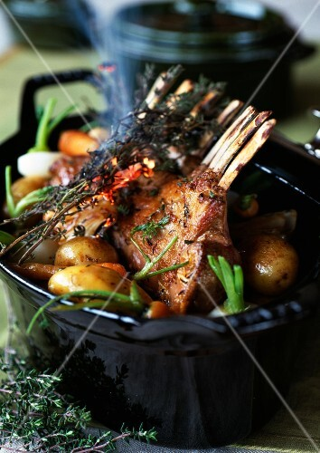 Rack of lamb with young vegetables