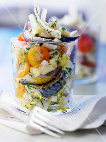Marinated mackerels,apple and celery salad