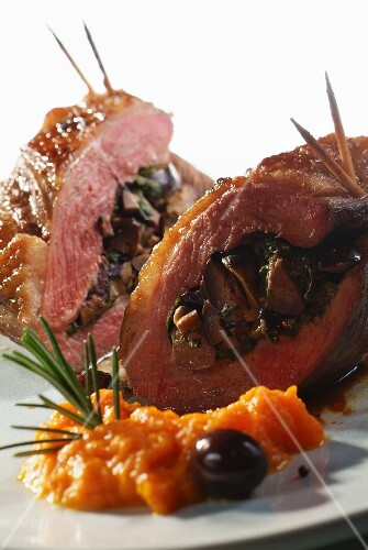 Duck breast with an olive stuffing