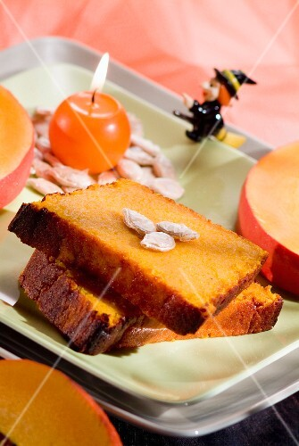 Two slices of pumpkin cake