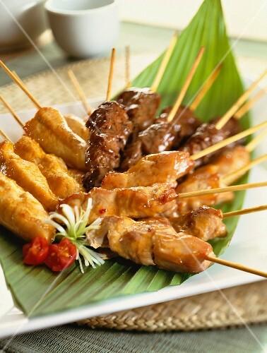 Three types of oriental meat skewers
