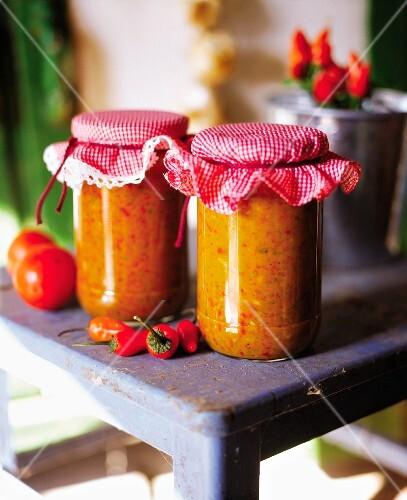 Jars of ajvar (pepper purée)