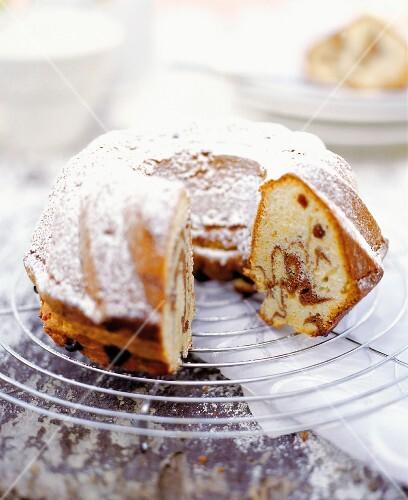 Kouglof (Alsatian Bundt cake) with icing sugar
