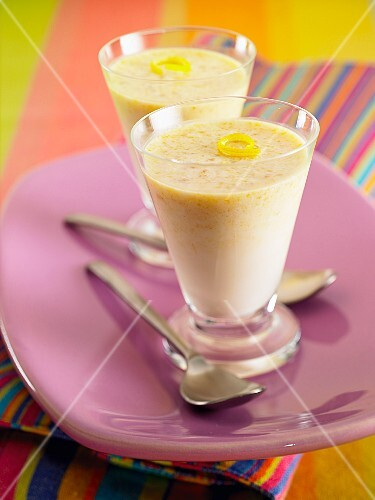 Lemon cream in glasses