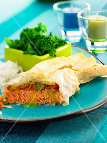 Salmon in filo pastry