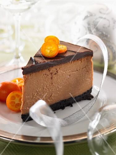 A slice of chocolate and coffee cake