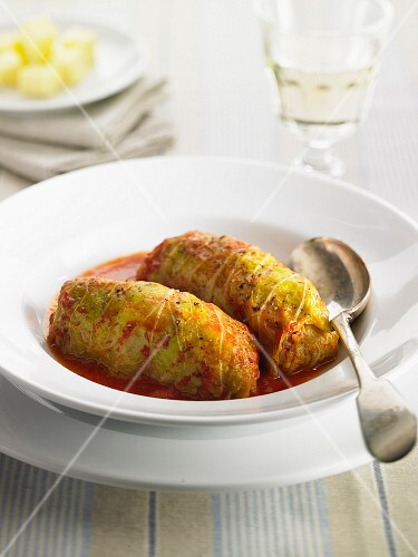 Cabbage roulade with a meat filling and tomato sauce