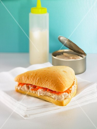 A tuna fish and carrot sandwich