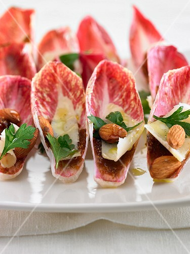 Red chicory with Parmesan cheese and almonds