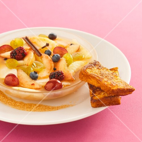 Fruit soup with brioche French toast