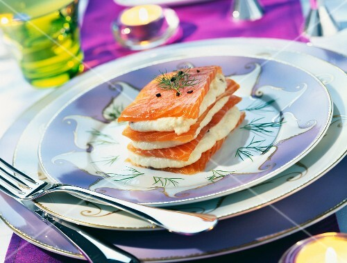Layers of smoked salmon and celeriac mousse