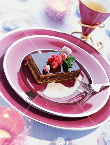 A Christmas Opéra slice with glazed fruits
