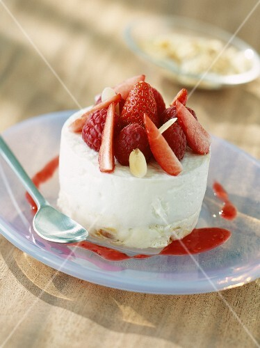 Cream cheese dessert with fruits of forest