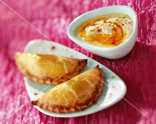 Pasties served with hummus