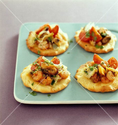 Seafood pizzas